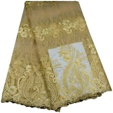 Beautifical African Guipure Nigeria Cord French Chemical Lace Fabric Champagne
