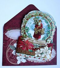 *POOCH & SWEETHEART Set of 4 Gold Foil Christmas Blank Note Card~Old World Santa