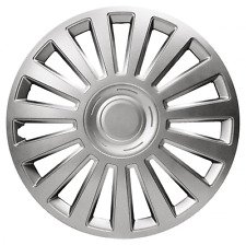 """4 x UNIVERSAL LUXURY 13"""" INCH SILVER VEHICLE CAR WHEEL TRIMS COVERS ABS SET"""