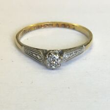Vintage 18ct Solid Gold Hallmarked Illusion Set Diamond Solitaire Ring Size P1/2