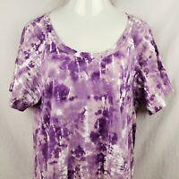 Womans Tye-Dye Hippie BoHo T-Shirt Size XXL Purple Scoop Neck Short Sleeve