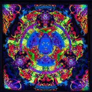 Buddha Wall Art, Sacred Mandala, Esoteric UV Backdrop, Spiritual Trippy Tapestry