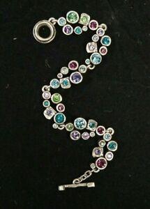 "Patricia Locke 7 5""  Swing Bracelet Silver Plate Water Lily Swarovski Crystals"