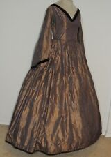 Civil War Era ca 1860's Iridescent Silk Pin Stripe Dress w Bell Sleeves SM