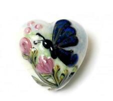 GL00 Premium Lampwork Artist Heart Bead Butterfly Blue 18x12mm *UK EBAY SHOP*