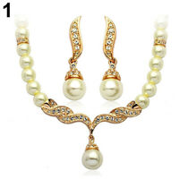 HN- EB_ Bridal Wedding Angel Wings Faux Pearls Necklace Studs Earrings Party Jew