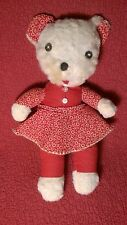 "Vintage 14"" KITTY CAT W/ RED DRESS fabric body soft rag toy plush stuffed"
