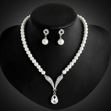 Bride Diamante Crystal Pearl Jewelry Set Silver Wedding Pendant Necklace Earring