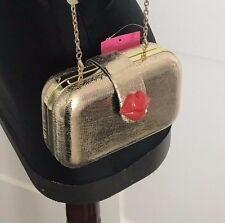 NWT Betsey Johnson Lock Kiss Red Lips Gold Clutch Bag Handbag purse minaudiere