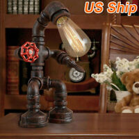Robot Lighting Fixtures Water Pipe Steampunk Vintage Industrial Table Desk Lamp