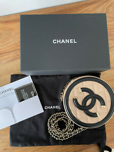 Authentic Chanel Filigree Round Clutch Mini Bag With Chain Beige