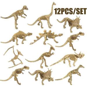 12Pcs Dinosaur Skeleton Fossils Assorted Bones Toys Doll Figures Model Playset