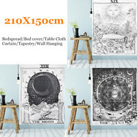 210cm Sun Star Moon Tarot Tapestry Hippie Wall Hanging Blanket Room Home  D2