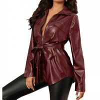 Sexy Women's Zip Blouses Faux Leather Shirt Jacket Long Sleeve Casual Clubwear B