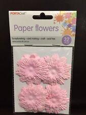 NEW - PAPER FLOWERS - PINK - PACK 32 - SCRAPBOOKING - CARD MAKING - ACID FREE
