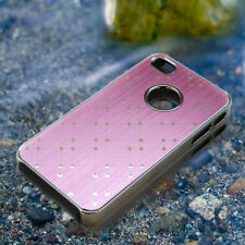 Pink Stylish Brushed Chrome Protective Hard Back Case Cover for iPhone 4 4S