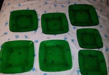 7 assorted Fire King Anchor Hocking Forest Green Charm Plates dinner salad lunch