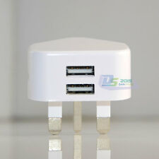 iPhone iPod iPad SAMSUNG UK Plug Main 2 Ports AC Wall Charger USB Power Adapter