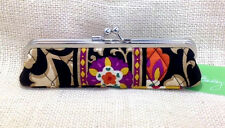Vera Bradley Suzani Slim Case Jewelry Readers Cosmetic Black Tan Kisslock NWT