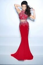 2 Piece Rhinestones Red Long Prom Dress Wedding Gown Pageant Gown 8 in stock