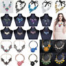 Womens Crystal Flower Necklace Choker Chunky Statement Bib Pendant Chain Jewelry