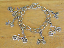 Bike Rider/Bicycle/Cyclist/Cycling Silver-Tone Charm Toggle Bracelet Marathon+