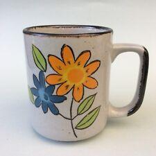 LARGE RETRO COFFEE TEA MUG Korea Flower Power Solid Quality Ceramic 1970s