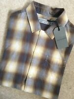 "ALL SAINTS BROWN ""LEWINGTON"" CHECK SHORT SLEEVE SHIRT TOP - XS & S - NEW & TAGS"