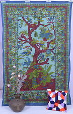 Tree of life Indian Tapestry Twin Cotton Wall Hanging Mandala Bedspread Throw