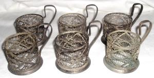 6~ Podstakannik Tea Glass Cup HOLDERS Filigreed Silver Plate *USSR Soviet Russia