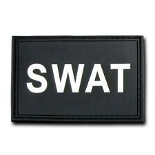 "Black SWAT Special Weapons & Tactics Tactical Rubber Patch Decal 3"" X 2"""