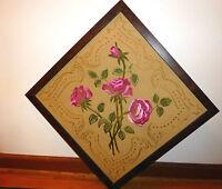 Custom Marled Wood Framed Vintage Crewel Embroidery Of Brilliant Stemmed Roses