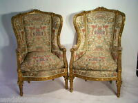 Antique PAIR LOUIS XVI BERGERE WING CHAIRS MUSEUM QUALITY/ W/Goverment /Papers