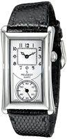 Peugeot Men's 2038S Vintage Contoured Dial Black Leather Doctors Silver Watch