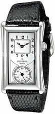 Peugeot Men's 2038S Vintage Contoured Dial Black Leather Doctors Silver Watch