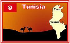 TUNISIA, MAP & FLAG - SOUVENIR NOVELTY FRIDGE MAGNET - BRAND NEW - GIFT