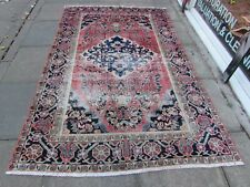 Shabby Chic Worn Vintage Hand Made Traditional Red Blue Wool Large Rug 243x155cm