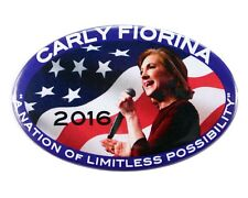 "2016 CARLY FIORINA ""A NATION OF LIMITLESS POSSIBILITY"" OVAL CAMPAIGN BUTTON, cfo"