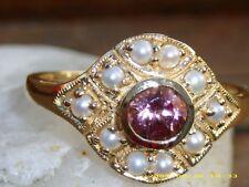 Pink Turmalin Perlen 375 Gelbgold  Ring  mit Zertifikat
