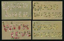 Greetings Language of Flowers 7 PPCs by Valentine all used 1907