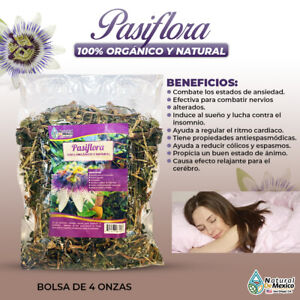 Pasiflora Passion Flower herbal tea evita y ataca el insomnio 4 onzas-113 gramos