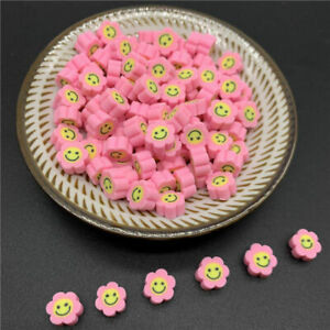 30pcs/Lot 10mm Clay Spacer Beads Sunflower Shape Smile Face Bead Polymer Clay