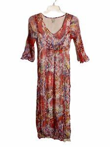 Lucky Brand Womens Boho Dress Sz Small S Boho Long Tie Paisley Print Semi Sheer