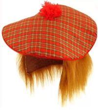 SCOTTISH HAT BURNS FANCY DRESS TAM-O-SHANTER & HAIR TARTAN SCOTLAND NIGHT UK
