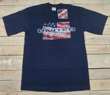 Vintage UNITED WE STAND USA Flag September 11 2001 9/11 SS Blue T-Shirt Size L