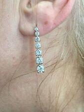 Drop Dangling Diamond Earring 2.17 Ct Round Diamond F Vs1 100% Natural