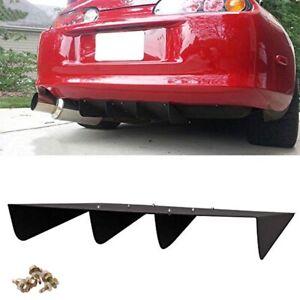 """22"""" x 21"""" ABS Universal Rear Bumper 4 Fins Diffuser Fin Black For Mazda  Subaru"""