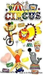 CIRCUS Jolee's Boutique 3-D Stickers - Lion Big Top Trapeze Monkey Seal Popcorn