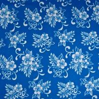 Hawaiian Print Flannel by Transpacific, White Kokio & Lau on Blue, BTHY or BTY