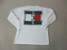 VINTAGE Tommy Hilfiger Shirt Adult Large White Red Spell Out Long Sleeve Men A32